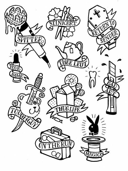 Tattoo Flash Art Black And White Guitar: 49+ Old School Tattoo Designs