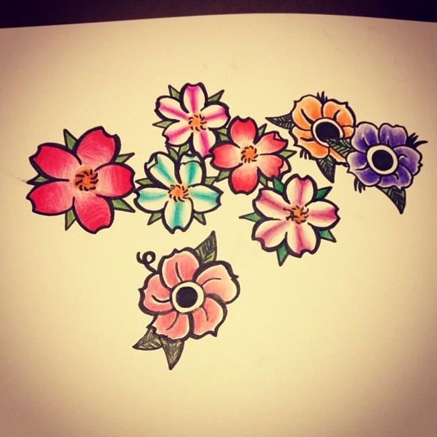 15 Old School Flower Tattoo Designs