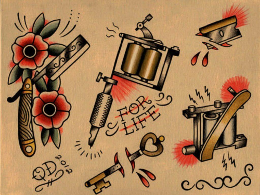 50+ Old School Tattoo Stencils
