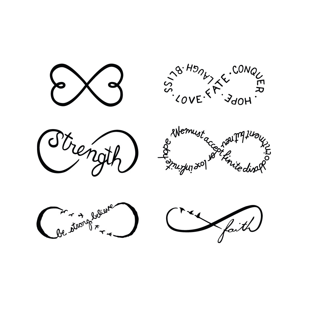 55 infinity symbol tattoo designs nice set of infinity symbol tattoos design buycottarizona Gallery