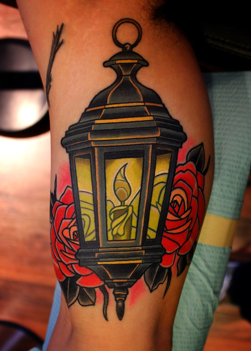 Nice Traditional Lantern Tattoo By Dave Wah