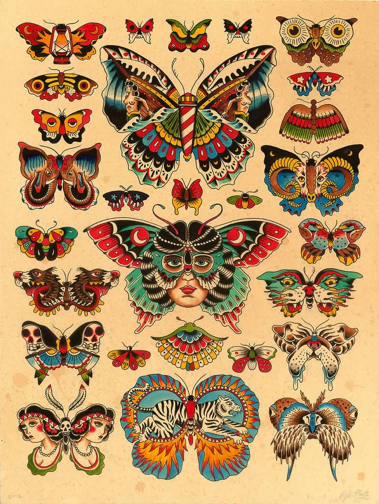 0bfc9c0429d25 Old School Butterflies Tattoo Design Set By Kyler Martz