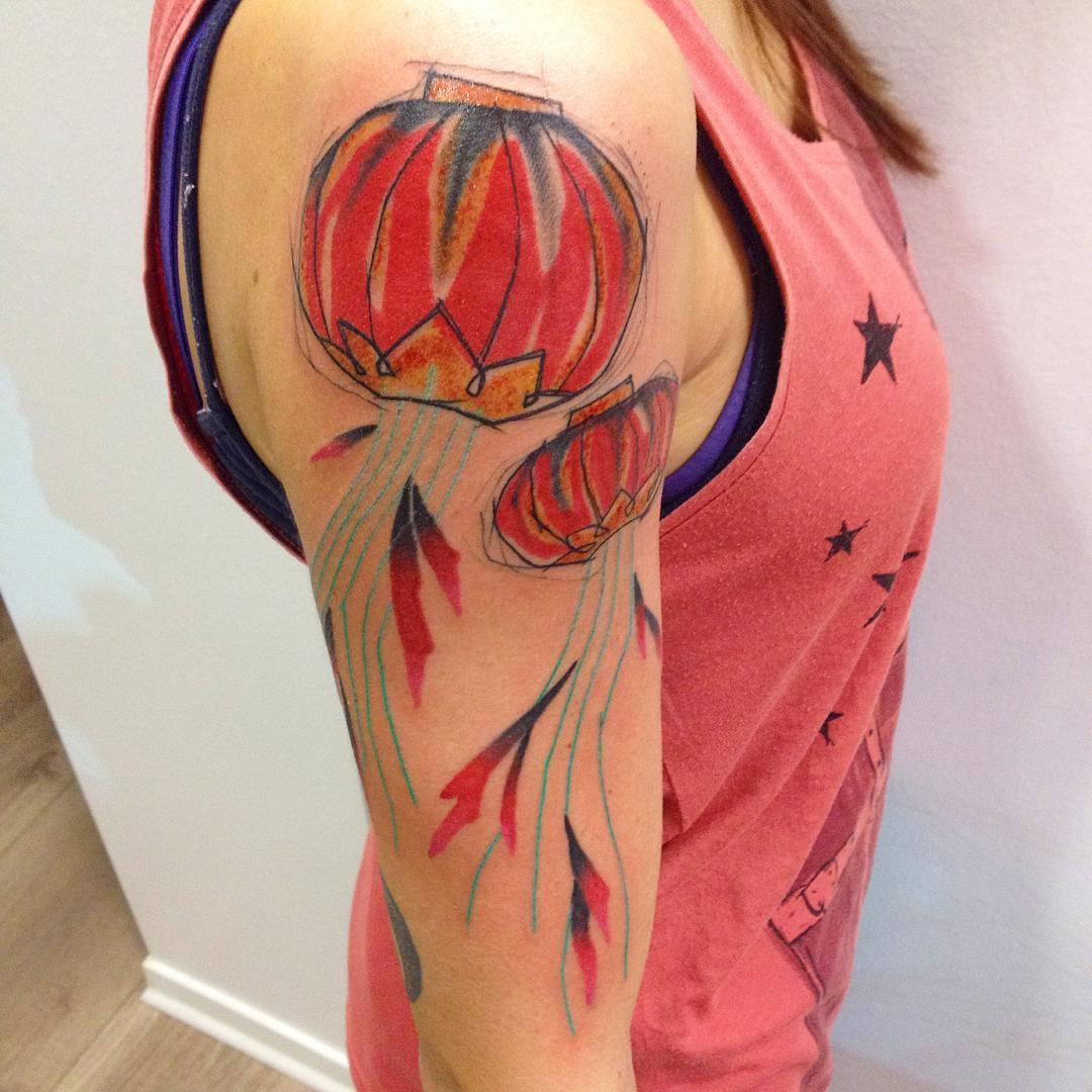 86f3e8956 Red Sky Lanterns Tattoo On Right Half Sleeve For Girls