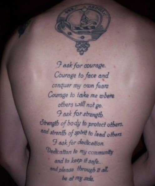 Tattoo Quotes Religious: 14+ Poem Tattoos On Back