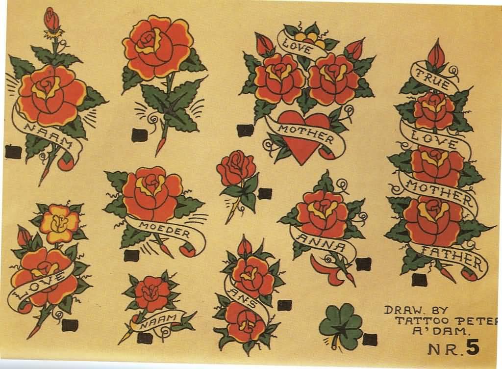 50 Old School Tattoo Stencils