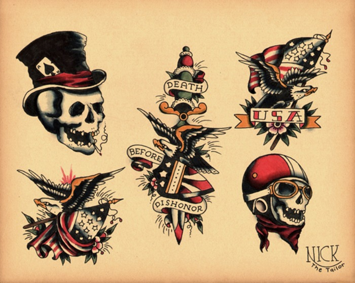 35 unique old school tattoo ideas for Skull and eagle tattoo