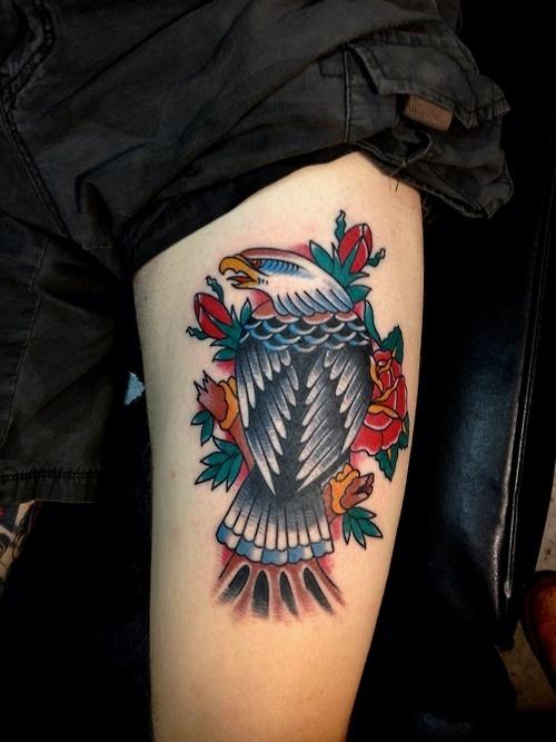 40 old school eagle tattoos for Small eagle tattoo