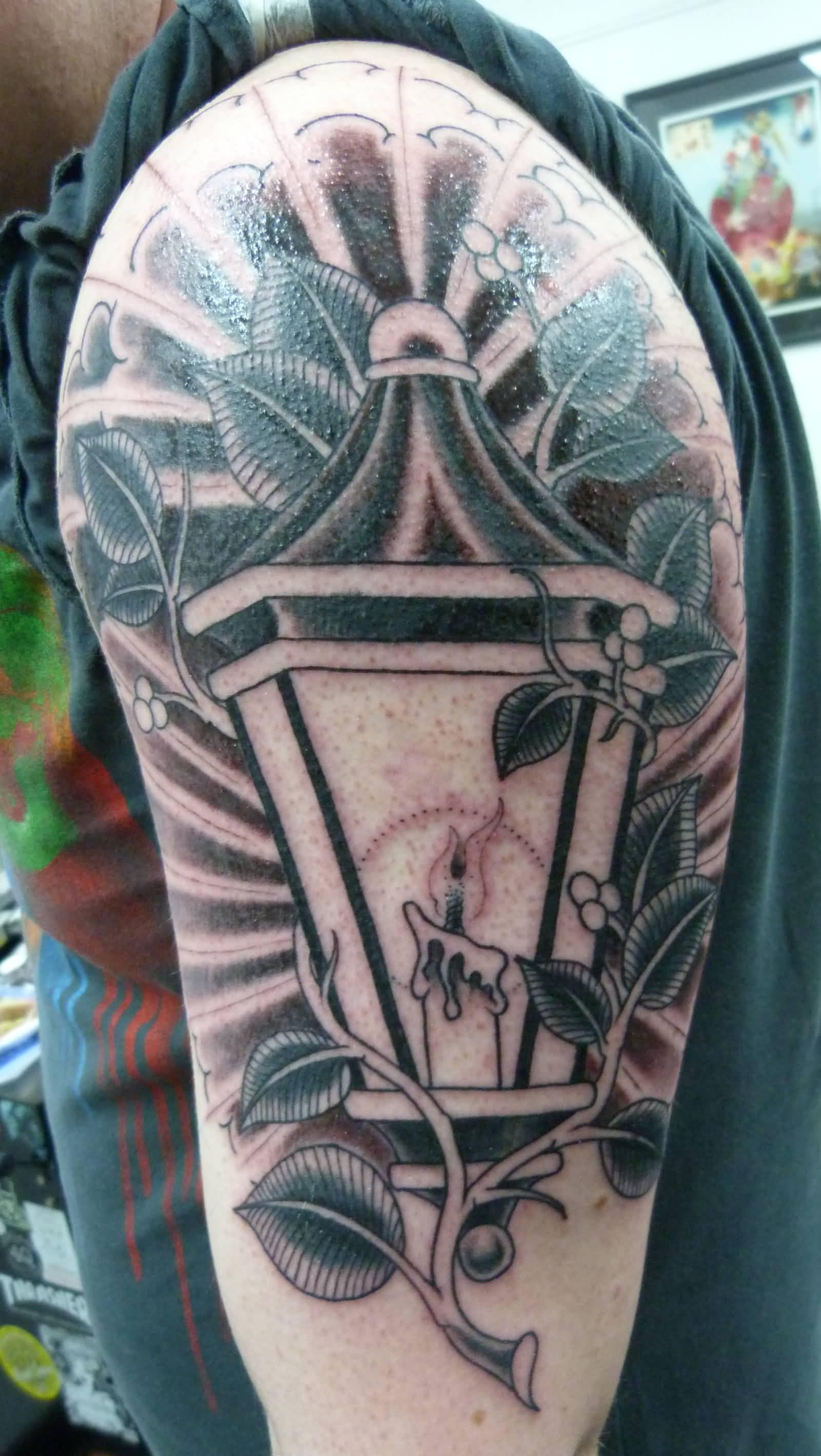 rose candle lantern traditional tattoo on left half sleeve. Black Bedroom Furniture Sets. Home Design Ideas