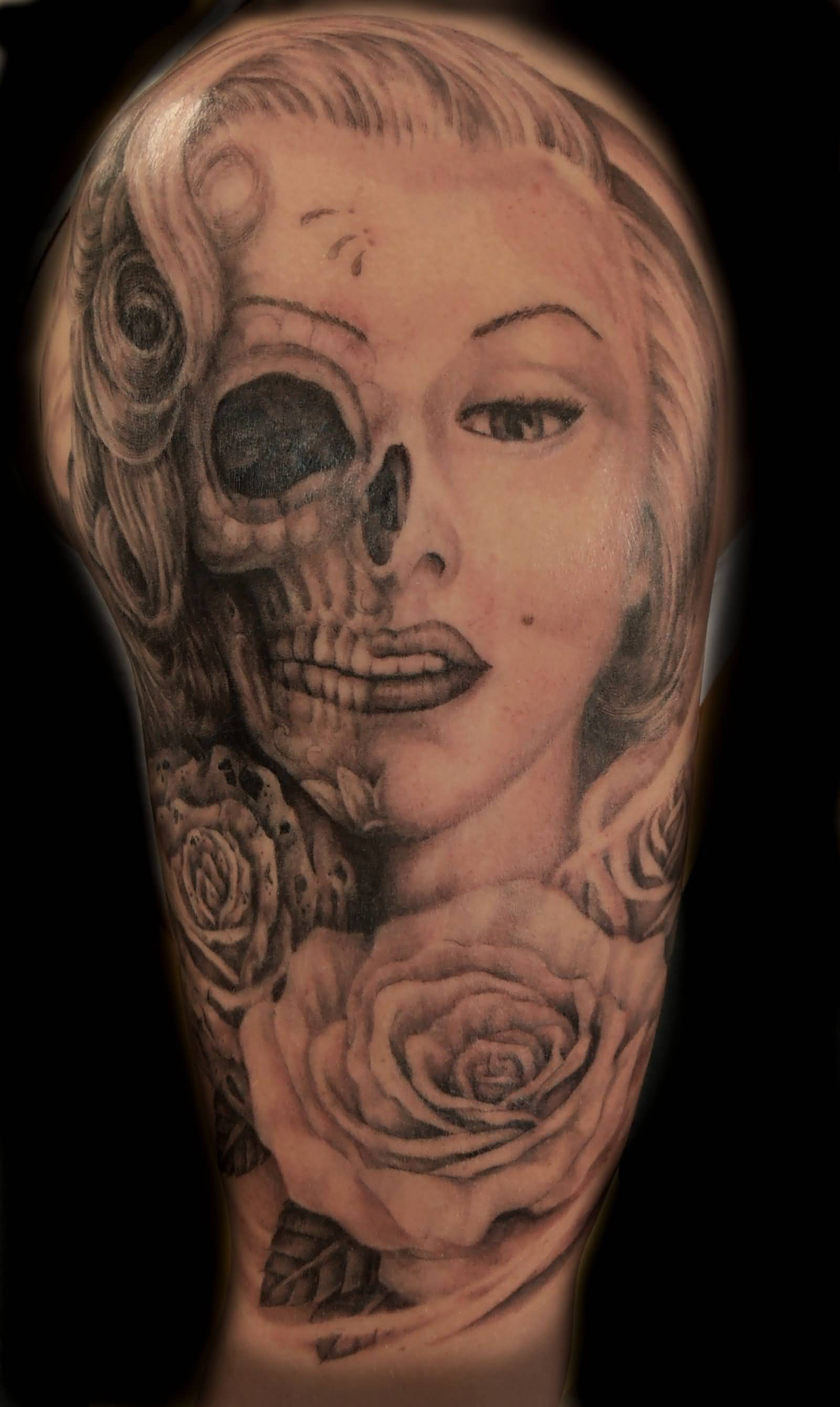 15 marilyn monroe tattoos for half sleeve for Marilyn monroe skull tattoos