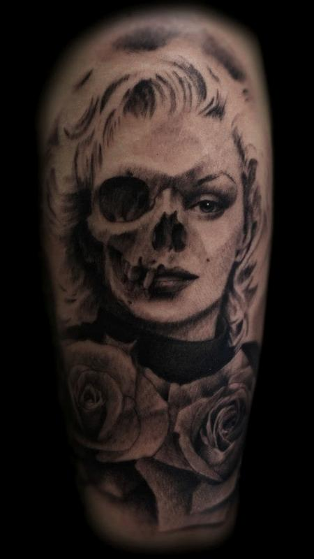 17 marilyn monroe skull tattoos for Marilyn monroe skull tattoos
