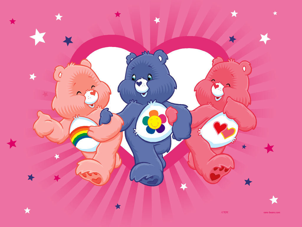 Three Cute Care Bears Wallpaper
