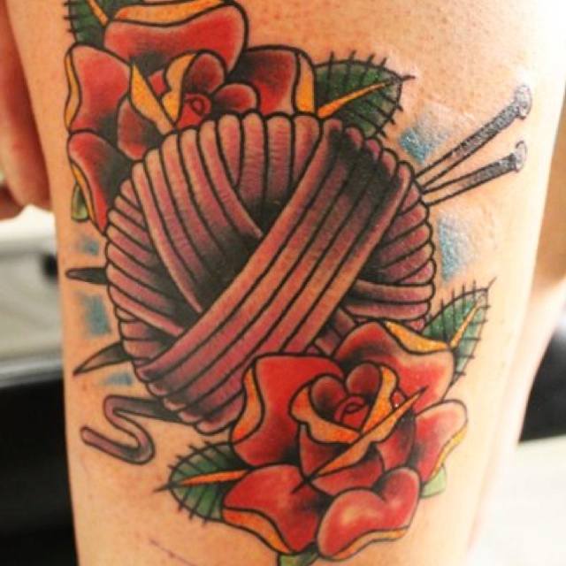 Knitting Related Tattoos : Knitting needle tattoos and ideas