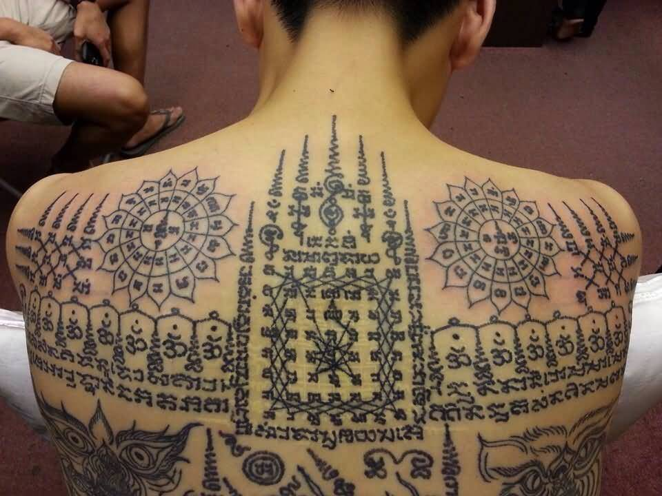 awesome thai religious tattoo on full back. Black Bedroom Furniture Sets. Home Design Ideas