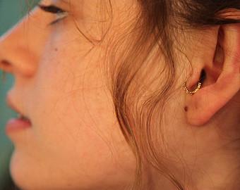 Tragus Gold Ring Ear Piercing