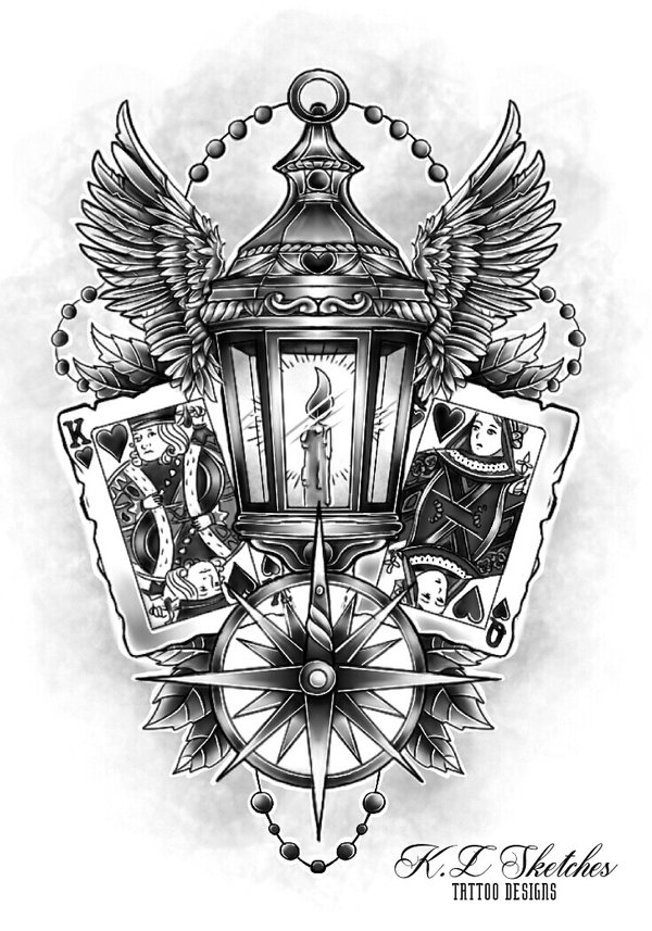 Lantern tattoo drawing for Unique sketches