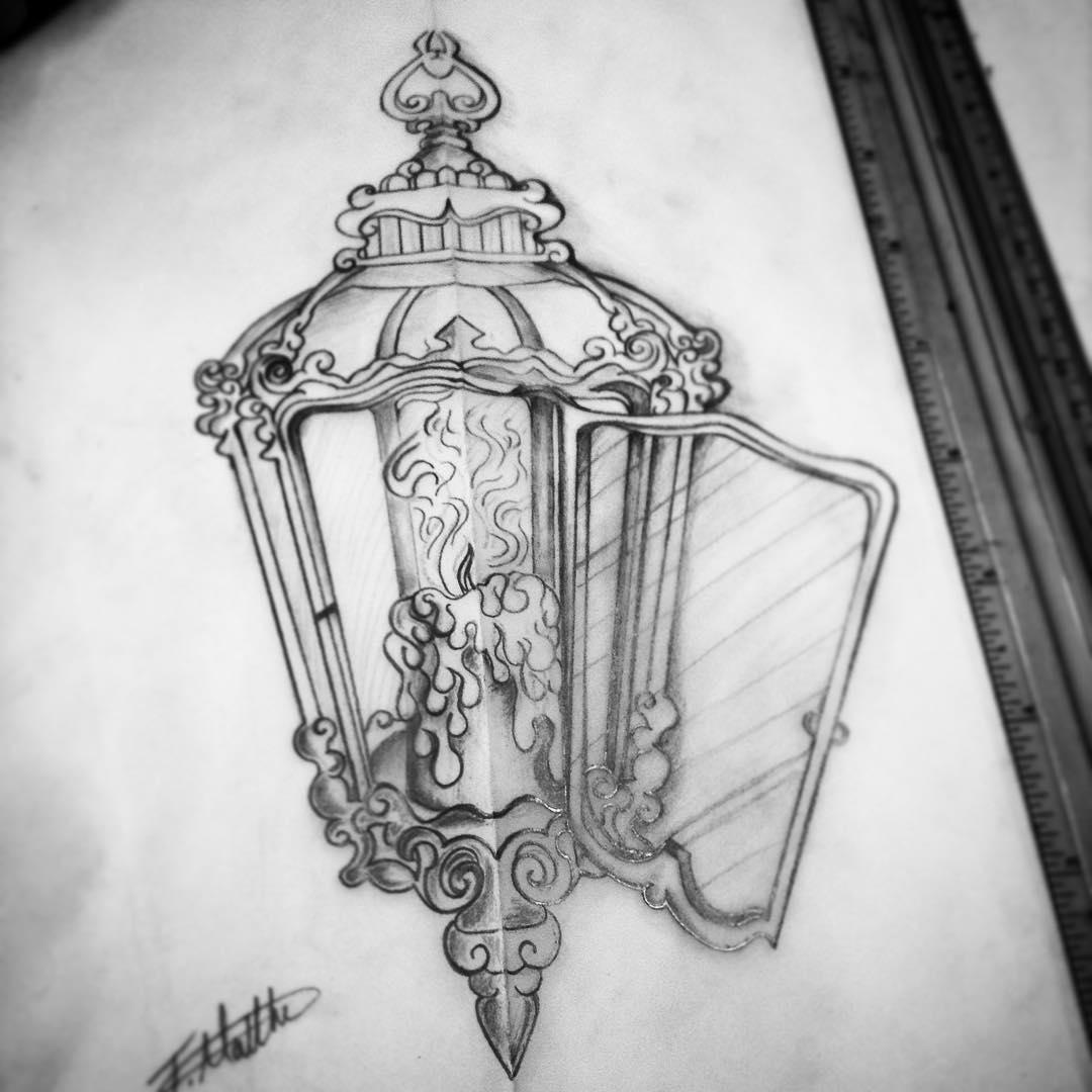 Wonderful Antique Candle Lantern Tattoo Drawing