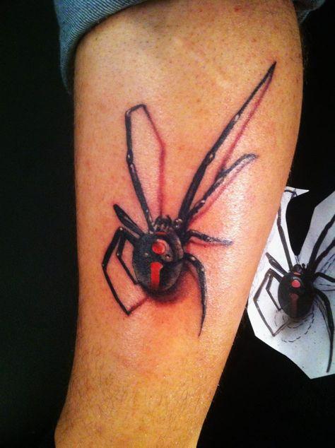 3d black widow spider tattoo on leg for Black widow spider tattoo