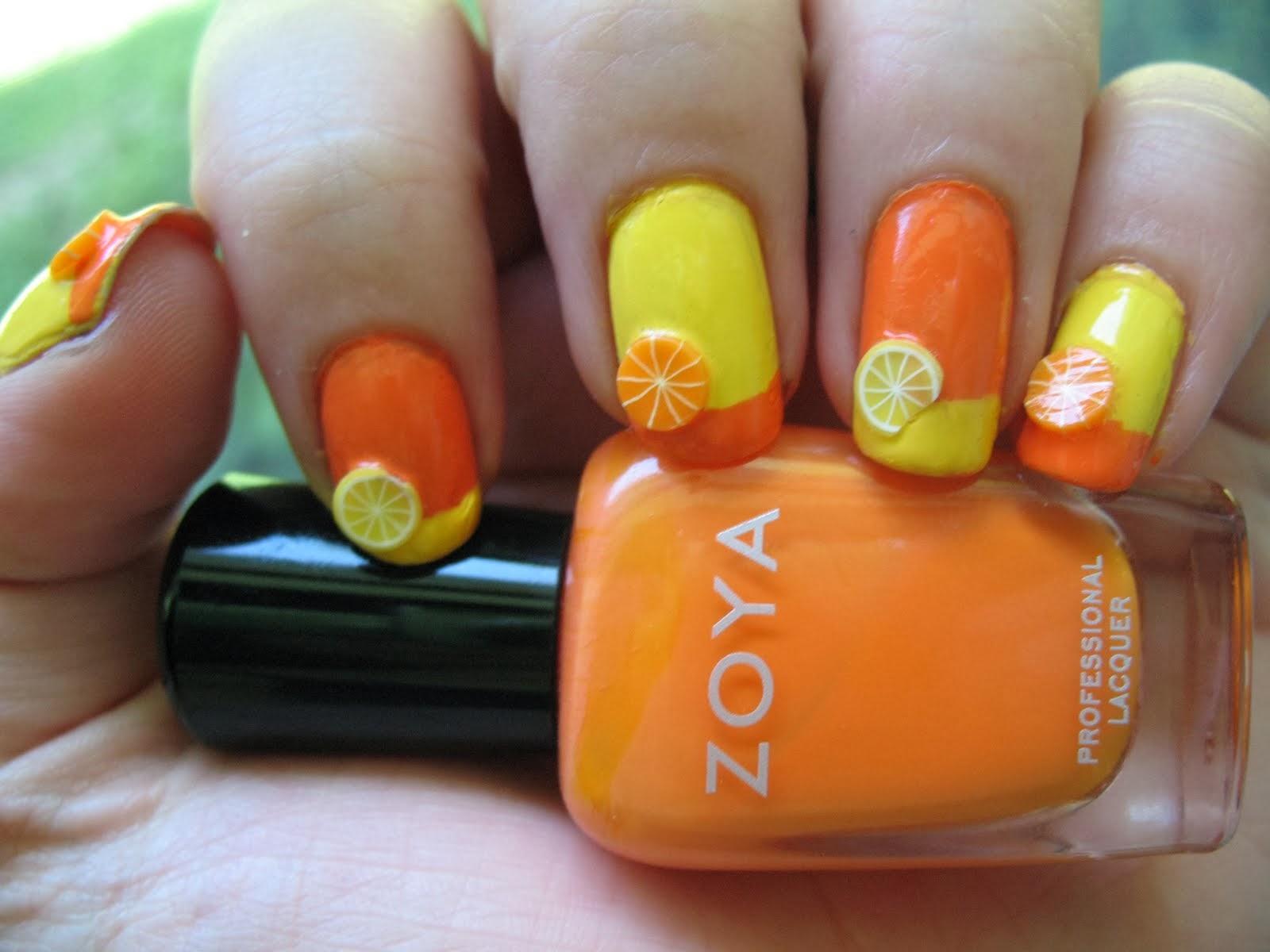 3D Orange Nail Art Design