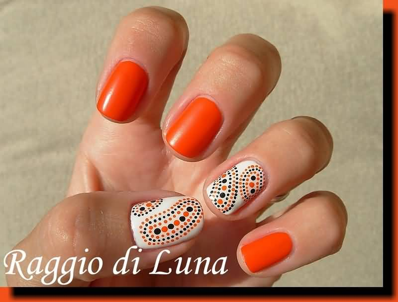 Abstract Orange Black And White Dots Design Nail Art