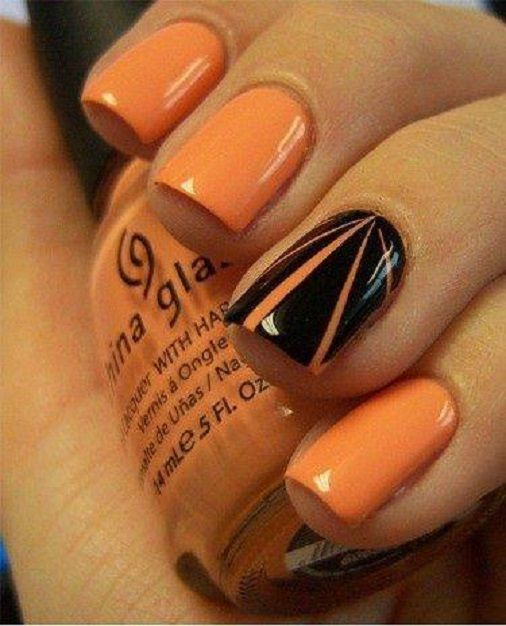 Accent Black With Orange Rays Design Nail Art
