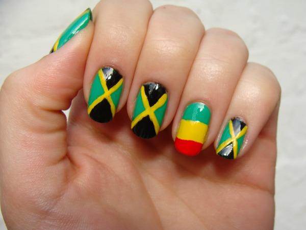Accent Ethiopia Flag Nail Art - 45+ Most Beautiful Flags Nail Art Design Ideas