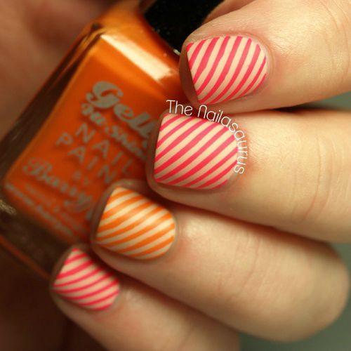 Accent Orange And White Stripes Design Nail Art