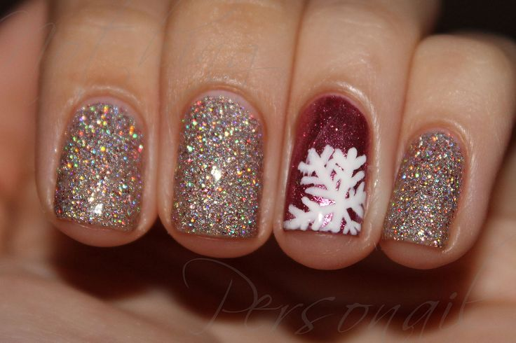 Gold christmas nail art image collections nail art and nail 55 most stylish christmas nail art accent red and white snowflakes design christmas nail art prinsesfo prinsesfo Gallery