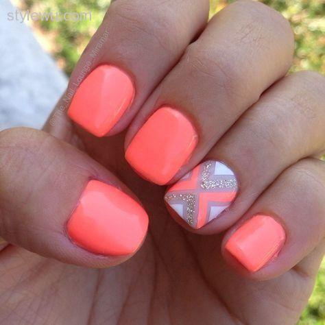 Acrylic Neon Pink Nails With Accent Design Short Nail Art - 50+ Stylish Acrylic Short Nail Design Ideas