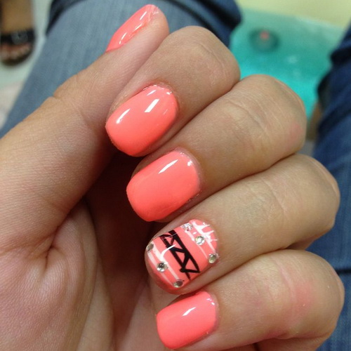 Acrylic Neon Pink With Accent Tribal Design Short Nail Art - 50+ Stylish Acrylic Short Nail Design Ideas