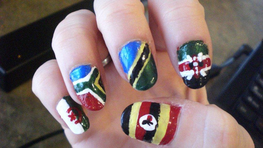 African Flag Nail Art Design - 50+ Most Beautiful Flags Nail Art Ideas