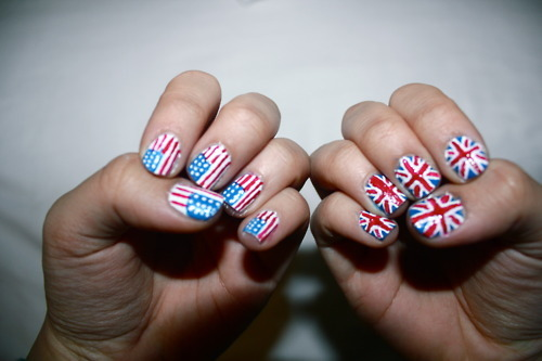American and united kingdom flag nail art design prinsesfo Gallery