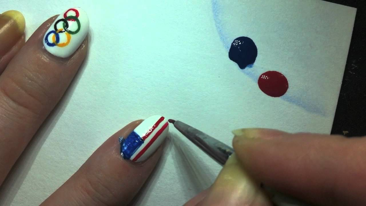 American flag and olympics sign nail art tutorial video.