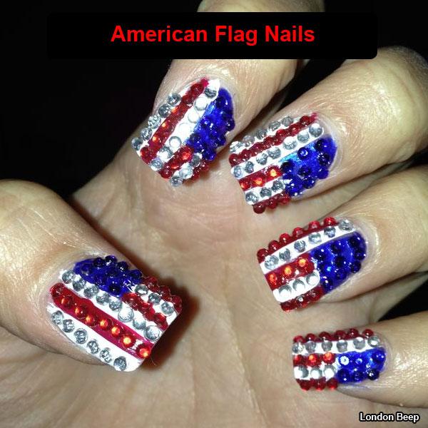 American Flag Rhinestones Design Nail Art - 50+ Most Beautiful Flags Nail Art Ideas