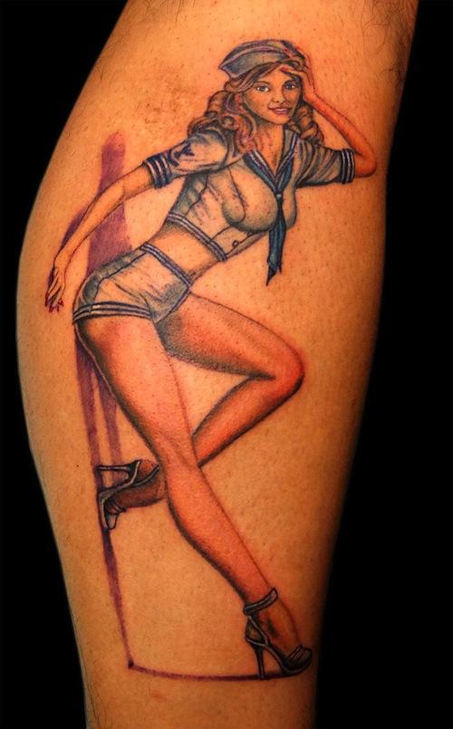 Anchor Pin Up Girl Tattoo