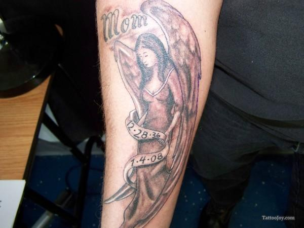 50 remembrance tattoos for mom for Angel tattoos on forearm