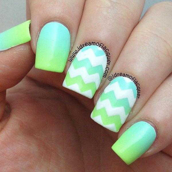 Aqua Nail Art: 50 Most Beautiful Gradient Nail Art Design Ideas