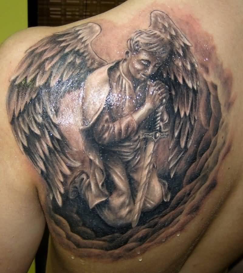 50 Cute Praying Angel Tattoos