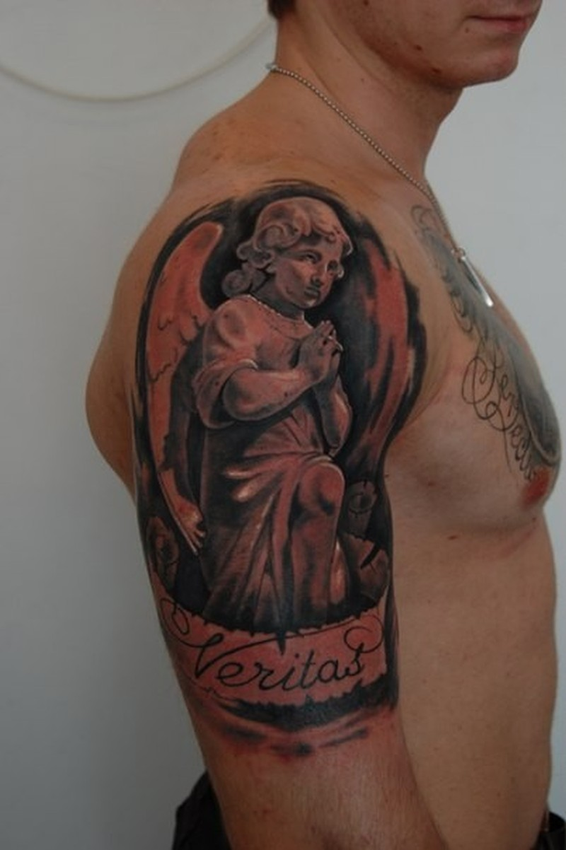 Awesome praying angel tattoo on right half sleeve for Angel half sleeve tattoo