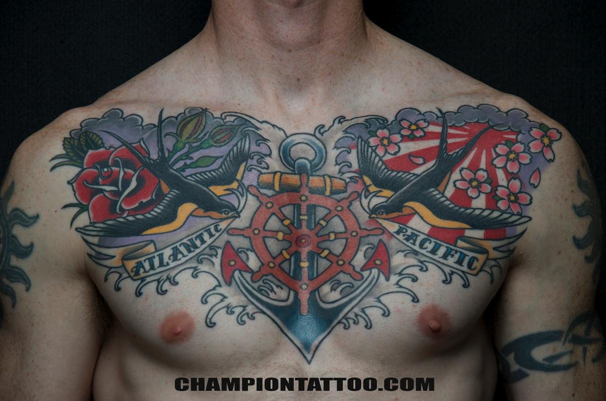 Fabulous Old School Navy Tattoo On Full Back - photo#7