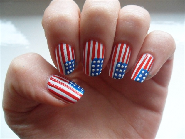 Beautiful American Flag Nail Art - 50+ Most Beautiful Flags Nail Art Ideas
