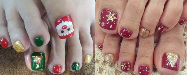 Beautiful Christmas Nail Art For Toe Nails