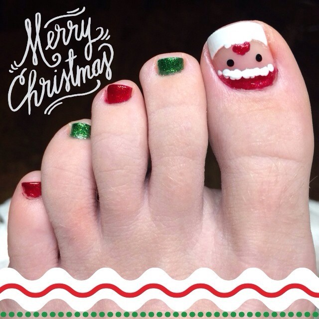 Beautiful Santa Claus Face Design Christmas Toe Nail Art - 40 Most Beautiful Christmas Nail Art Ideas For Toe Nails