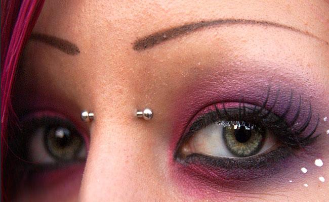 Beautiful Nose Piercing And Surface Bridge Piercing