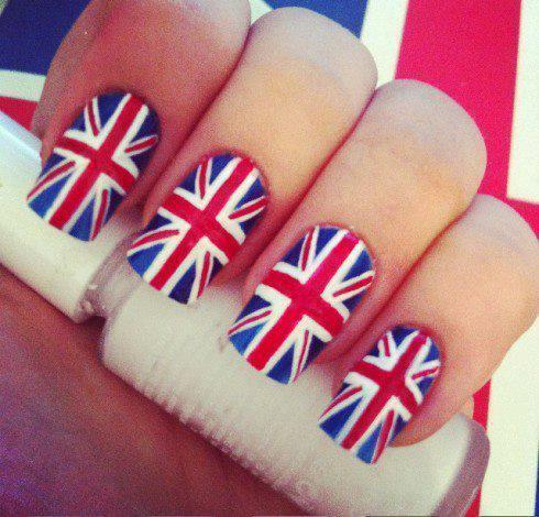Beautiful United Kingdom Flag Nail Art - 50+ Most Beautiful Flags Nail Art Ideas