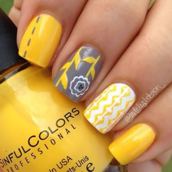 Beautiful Yellow Grey and White Nail Art Design