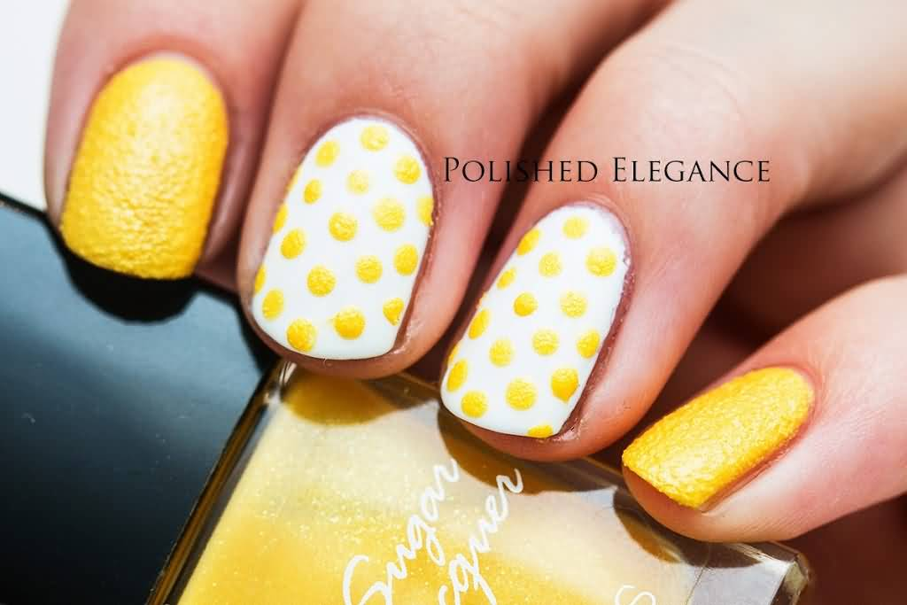 Beautiful Yellow Polka Dots Nail Art