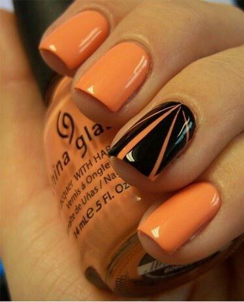 Black Accent And Orange Rays Design Nail Art