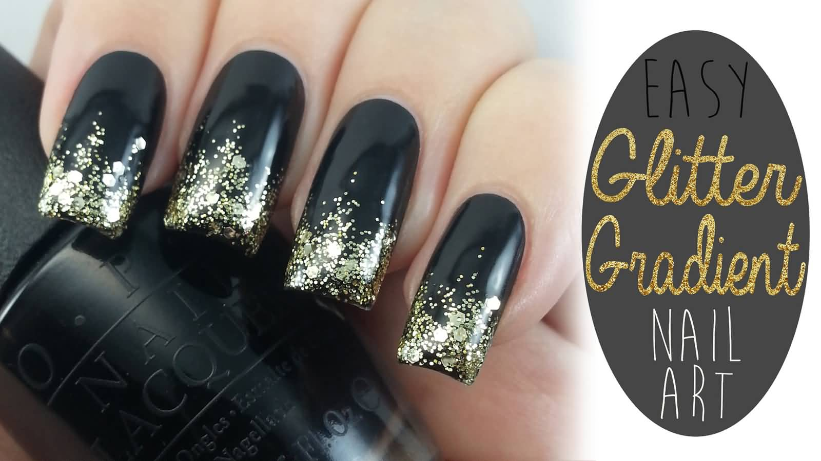 Black and gold glitter gradient nail art tutorial video prinsesfo Images