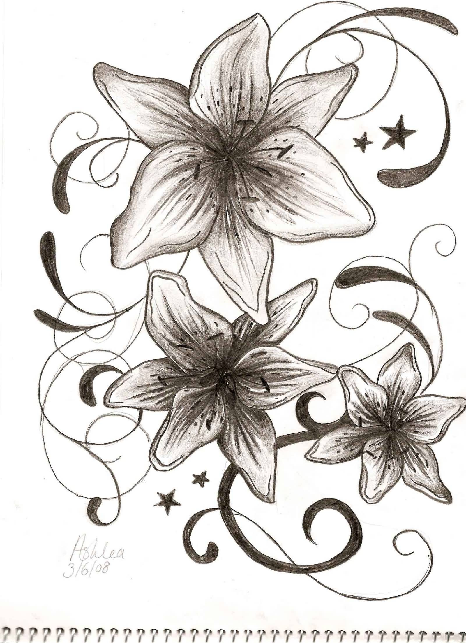16d703beb Black And Grey Gladiolus Tattoo Design
