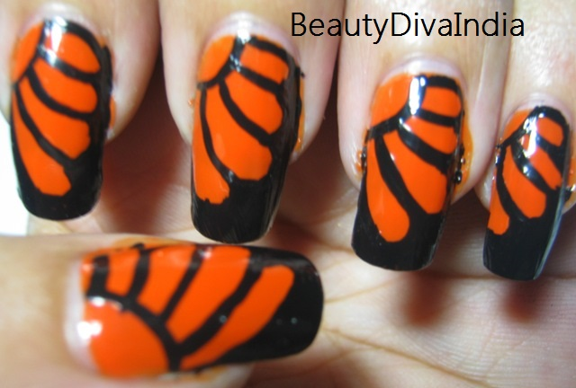 Black And Orange Butterfly Wings Nail Art